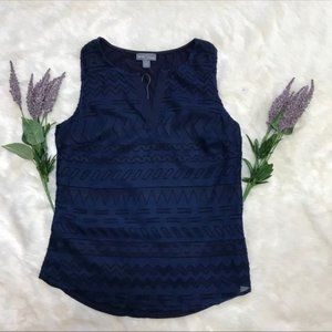 Navy NWT Sleeveless Tank with Textured Front